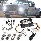 LEDGlow 4pc Automotive HID Xenon Strobe Headlight Kit - 60 Watt U Shaped Bulbs - Car Alarm Synchronization Feature - 15 Flash Patterns