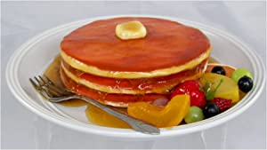 Realistic Food Replicas Delicious Looking Faux Plate of Pancakes with Fruits