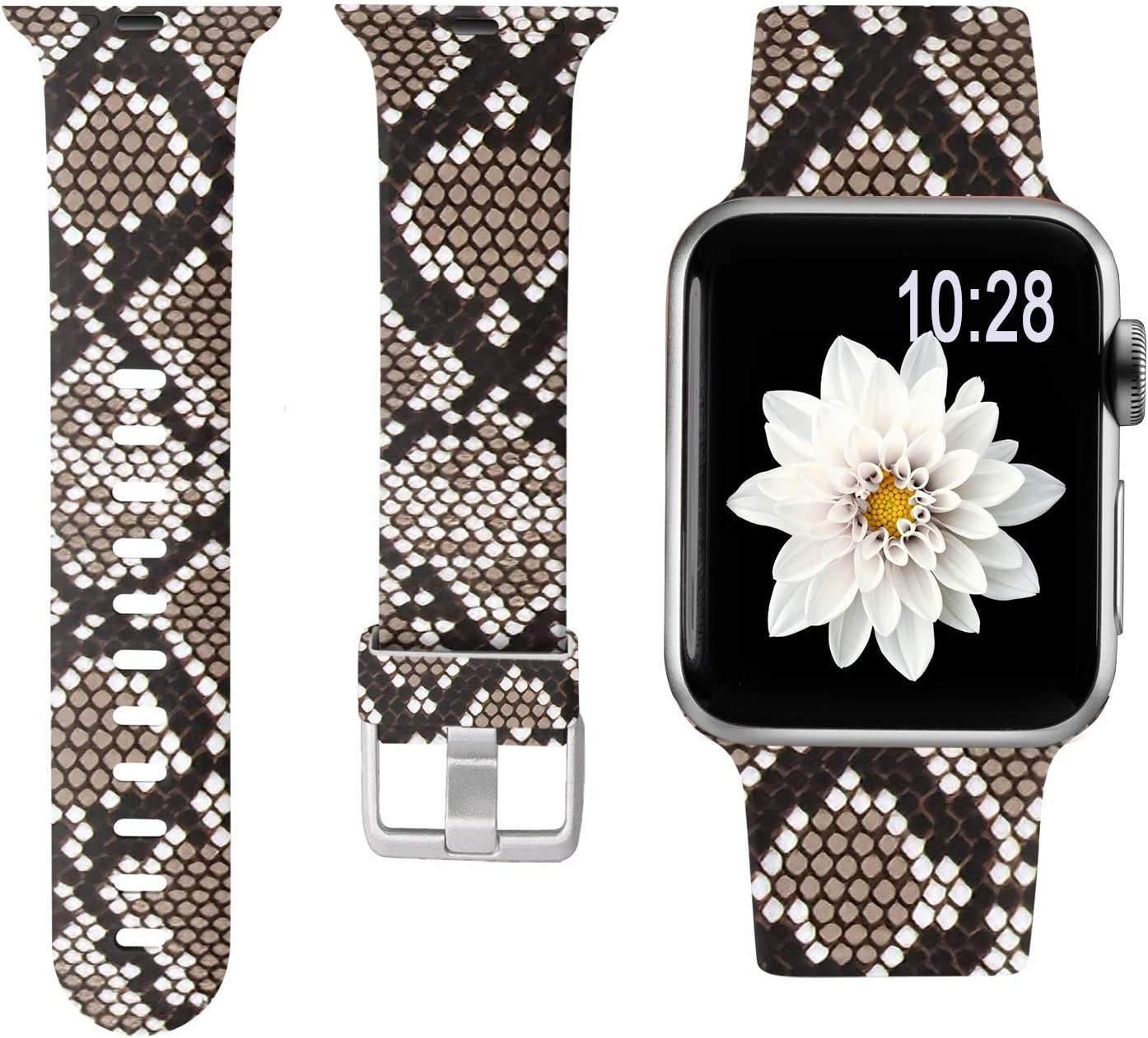 Laffav Floal Bands Compatible with Apple Watch Band 40mm 38mm iWatch SE & Series 6 & Series 5 4 3 2 1 for Women Men, Brown Snakeskin, S/M