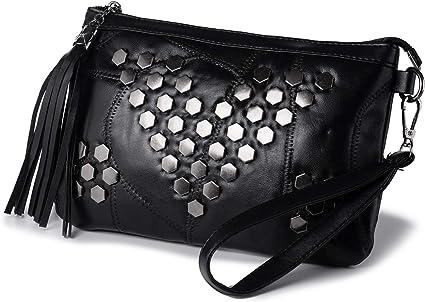 Kleine Handtasche Umhängetasche für Damen Quaste Nieten