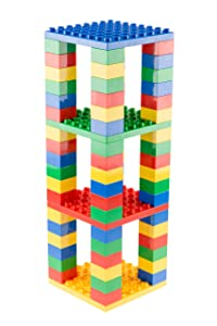 Strictly Briks Stackable Big Briks Tower - Building Bricks, Blocks & Baseplates Set 100% Compatible with All Major Brands - 2 Large Block Sizes for Ages 3+, Blue, Green, Red, Yellow, 76 Pieces