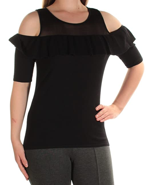 3399fca405364 Amazon.com  INC Womens Illusion Cold Shoulder Pullover Sweater Black M   Clothing