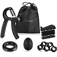 Hand Grip Strengthener, iToncs Grip Strength Trainer (5 Pack) with Finger Exerciser, Forearm Grip Workout, Finger…