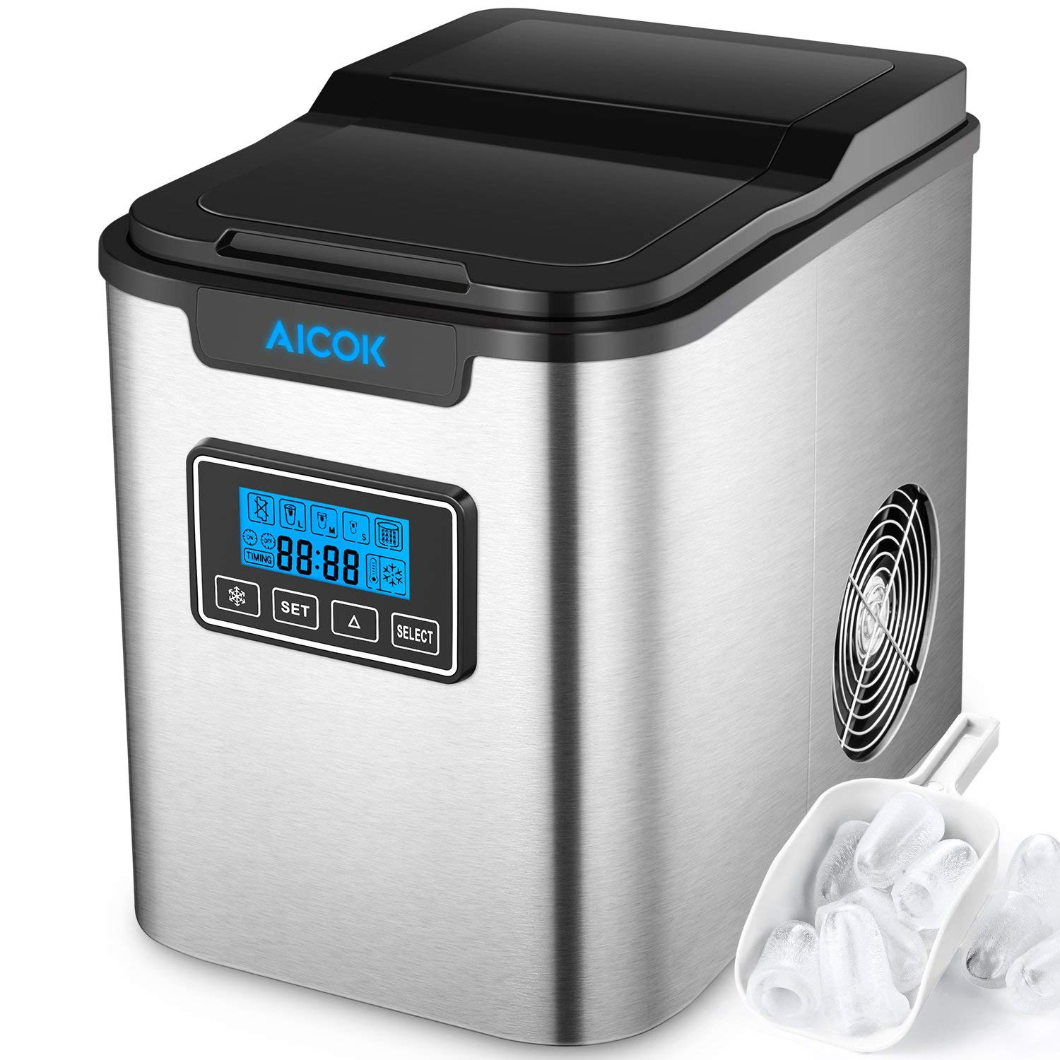 Portable Ice Maker Aicok, Countertop Ice Machine with Self-clean Function, Makes 26lbs Ice per 24 hours, 9 Ice Cubes ready in 6-10 Minutes, 2 Qt. Water Tank, LCD Display & Ice Scoop, Stainless Steel