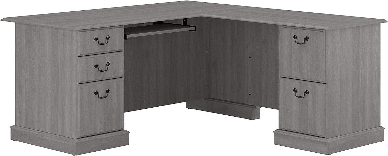 Bush Furniture Saratoga L Shaped Computer Desk with Drawers, Modern Gray