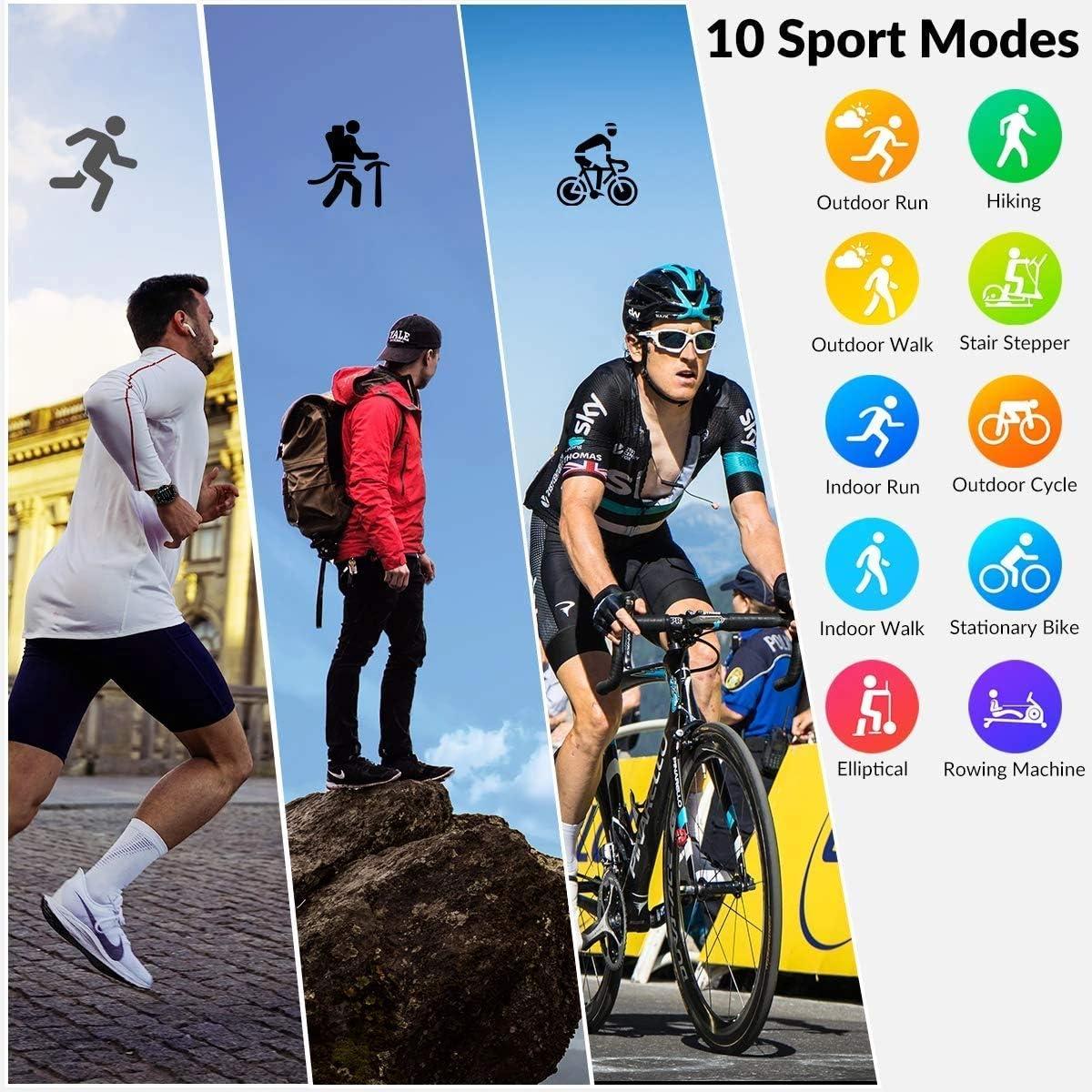 black Montre Intelligente /étanche IP67 HopoFit HF06 /Écran Tactile Complet de Cercle Sport Bracelet avec Cardiofr/équencem/ètre,Podom/ètre,Sommeil,Notification T/él/éphonique pour Android iOS Homme Femme