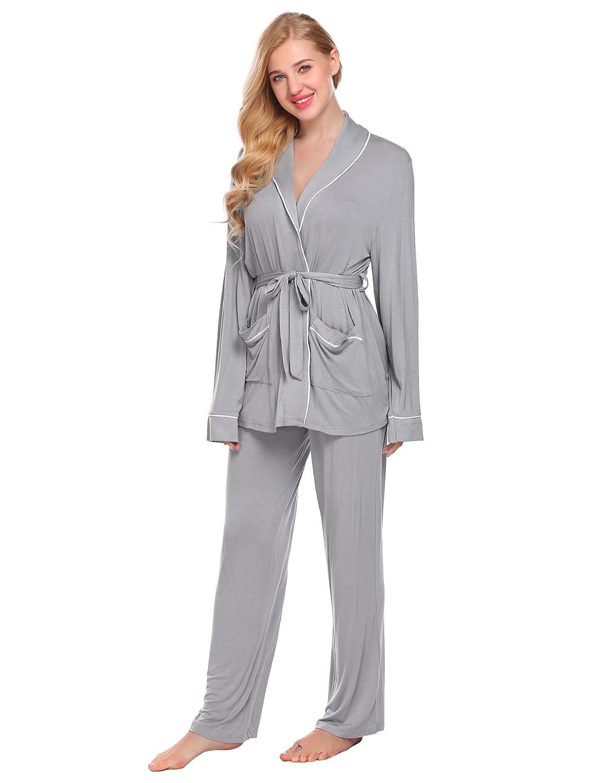 Bifast Women's Comfort Sleepwear Long Sleeve Pajama with Pj Set S-XXL