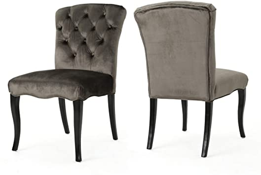 Amazon Com Christopher Knight Home Hallie Traditional Armless Tufted Velvet Armless Dining Chairs 2 Pcs Set Grey Dark Brown Chairs