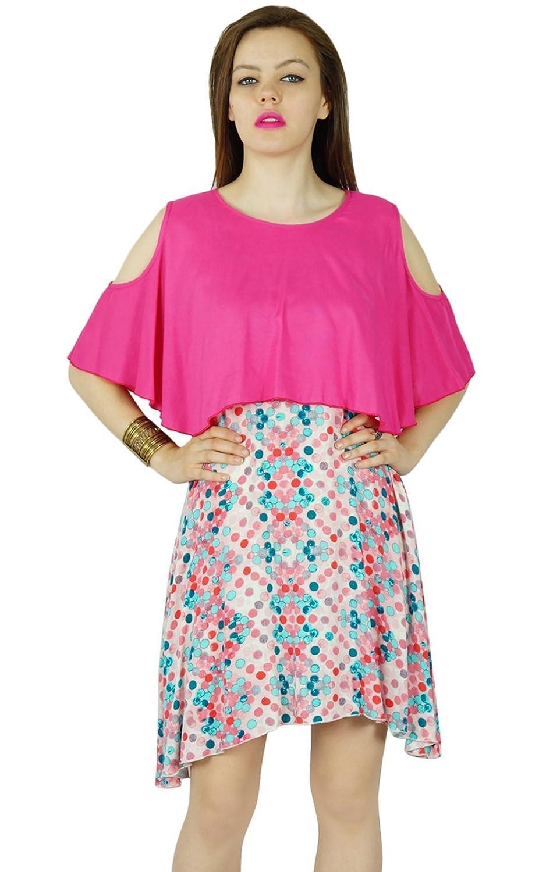 Bimba Frauen Mehrfarben Rayon kurz Etuikleid mit rosa Poncho top