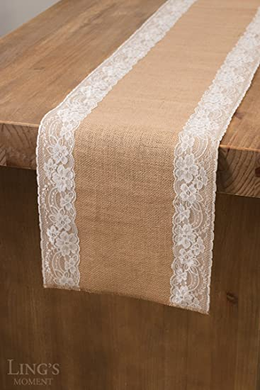 Lingu0027s Moment Natural Hessian Burlap Table Runner 108 Inch White Lace Trim  For Country Rustic Wedding
