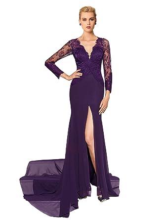 Lace Mermaid Purple Dresses