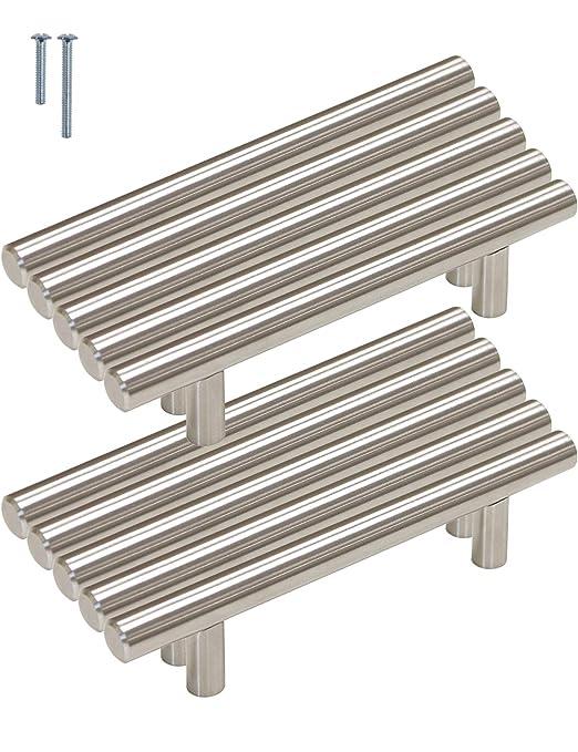 Gabinete de cocina asas Probrico - Barra en T asas pomos acero inoxidable 9 tamaño (50mm 64mm 76mm 96mm 128mm 160mm 192mm 224mm 256 mm)
