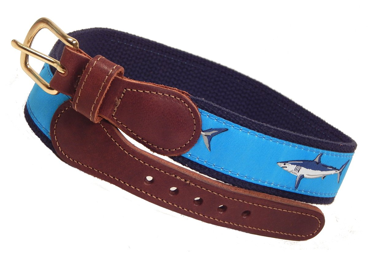 Preston Leather Mako Shark Belt, Kids Sizes 20 to 28, Adult Sizes 30 to 50, Ocean Blue (w/ Navy Web) (Size 28)