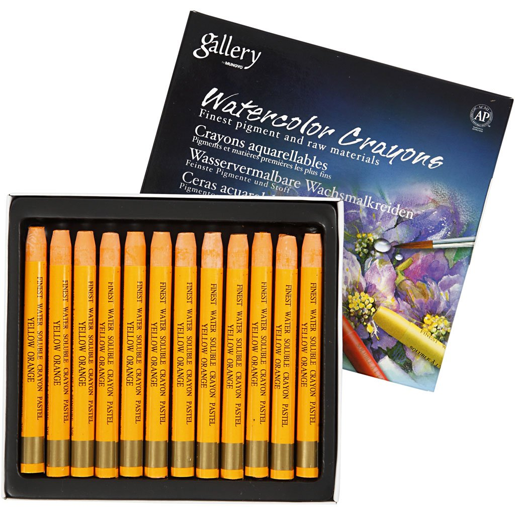 Aqua Crayons, thickness 8 mm, yellow orange (308), 12pcs Creativ Company