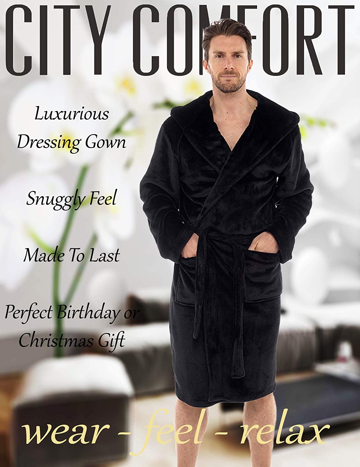 Mens Dressing Gown Luxury Super Soft Mens Fleece Robe with Hood ...