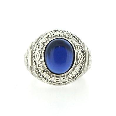 Men's Sterling Silver Blue Stone Set Cambridge University Ring