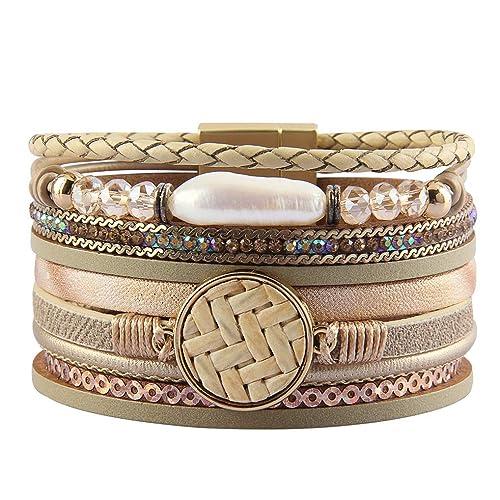 b74d698c4d2 Amazon.com: joymiao Womens Leather Wrap Bracelet with Baroque Pearl Charm  Bangle Crystal Cuff Bracelets Handmade Boho Jewelry for Teen Girls, Sister,  ...