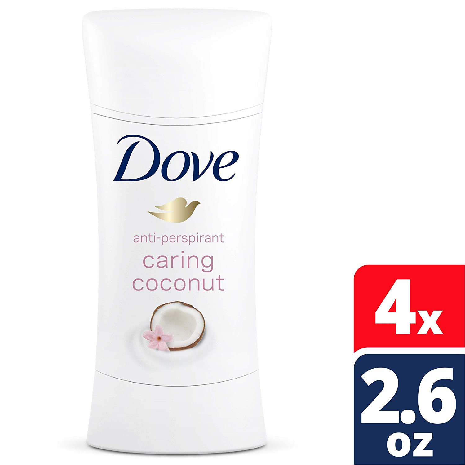 Dove Advanced Care Antiperspirant Deodorant, Caring Coconut, 2.6 Ounce (Pack of 4)