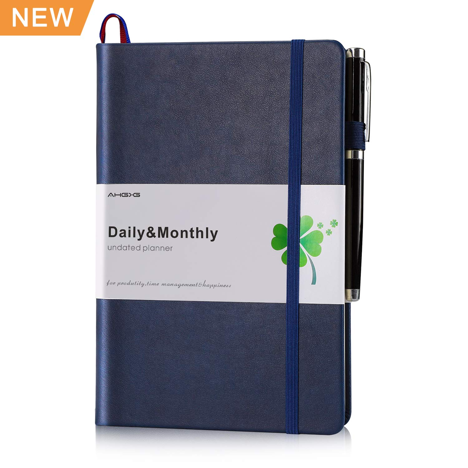 Daily/Monthly Planner, AHGXG Best Daily Academic Planner Organizer Journal, Master Planner for Productivity, Goals&Happiness with Premium Thick Paper, Pen Holder,Inner Pocket,5.7'' x 8.3'', Blue-Undated