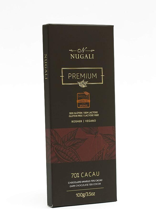 Tablete Chocolate Amargo 70% Vegano 100g Nugali por Nugali Chocolates