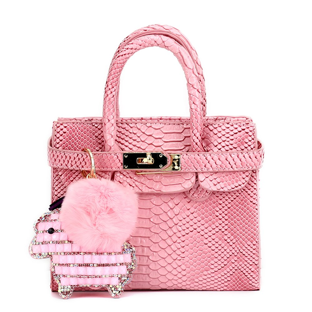 CMK Trendy Kids Colorful Python Grain Kids Crossbody Handbags for Girls with Little Rhinestone Sheep (80013_Pink) by CMK Trendy Kids (Image #1)