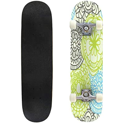 """Watercolor Christmas Vintage Floral Seamless Pattern with Blue Berries Outdoor Skateboard 31""""x8"""" Pro Complete Skate Board Cruiser 8 Layers Double Kick Concave Deck Maple Longboards for Youths Sports : Sports & Outdoors"""