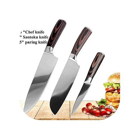 Amazon.com: Juego de cuchillos de cocina afilados de acero ...