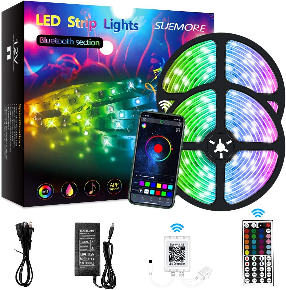 LED Strip Lights,32.8ft RGB LED Light Strip 5050 LED Tape Lights,Music Sync Color Changing Lights with Remote,Bluetooth Controller Light Color for Home TV Party, APP Controlled for iOS and Android