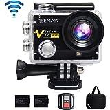 JEEMAK 4K Action Cam 16MP Action Camera WIFI Sport Action Camera Videocamera Impermeabile 170° Grandangolare con Telecomando 2.4G + 2 Batterie + Kit Accessori + Pacchetto Portatile