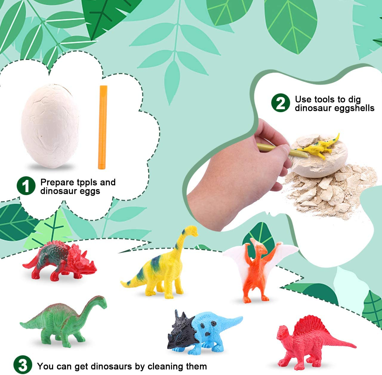 Dig it Up Jurassic Dinosaur Eggs MindWare with Map and Identification Cards OWNONE 1 Dinosaur Eggs Set,12PCS Dino Egg Excavation Discover The Dinosaurs Easter Gift for Kids Children Boys Girls