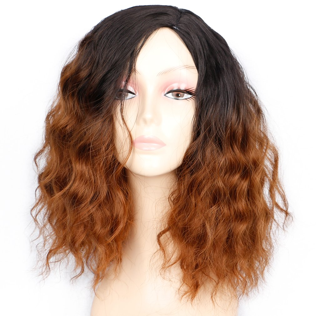 amazoncom synthetic curly bob wig with bangs for black