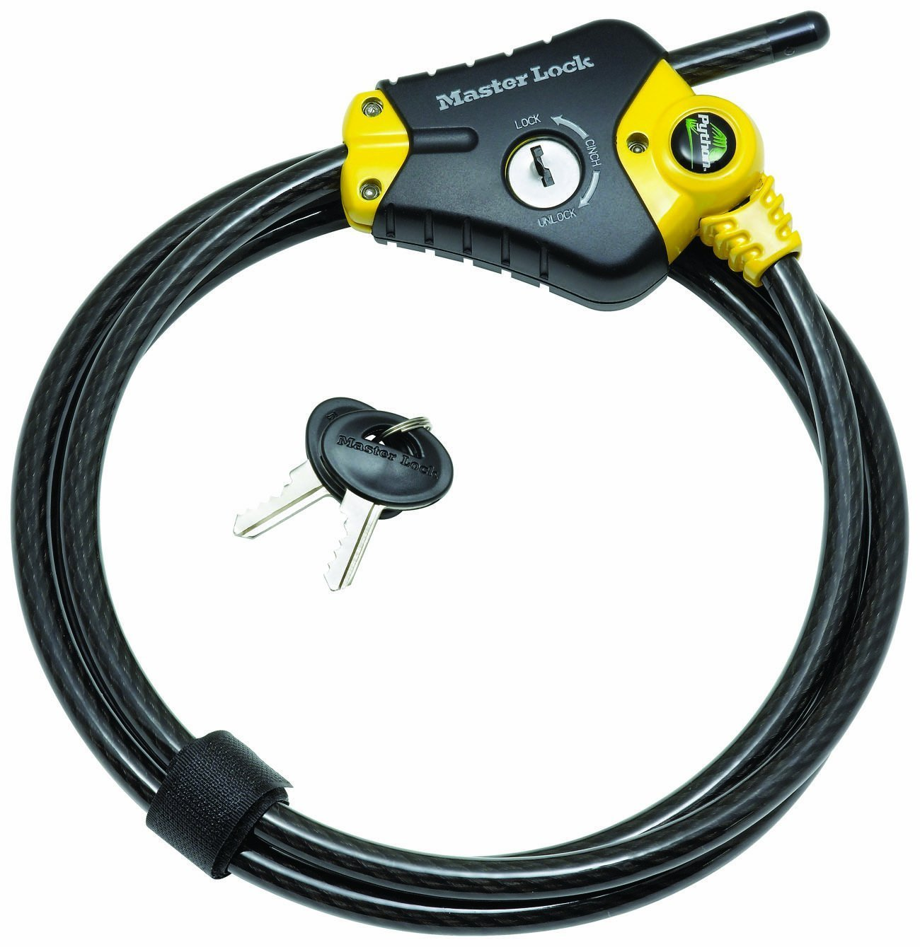 Master Lock 8433DAT 4 Pack 6ft. Python Adjustable Locking Cable, Yello and Black