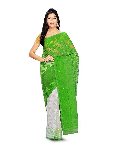 d20b5698e8 Mayurakshi Women's Pure Cotton Light Green Dhakai Jamdani Embroidered Saree/Partywear  Saree/Wedding Saree