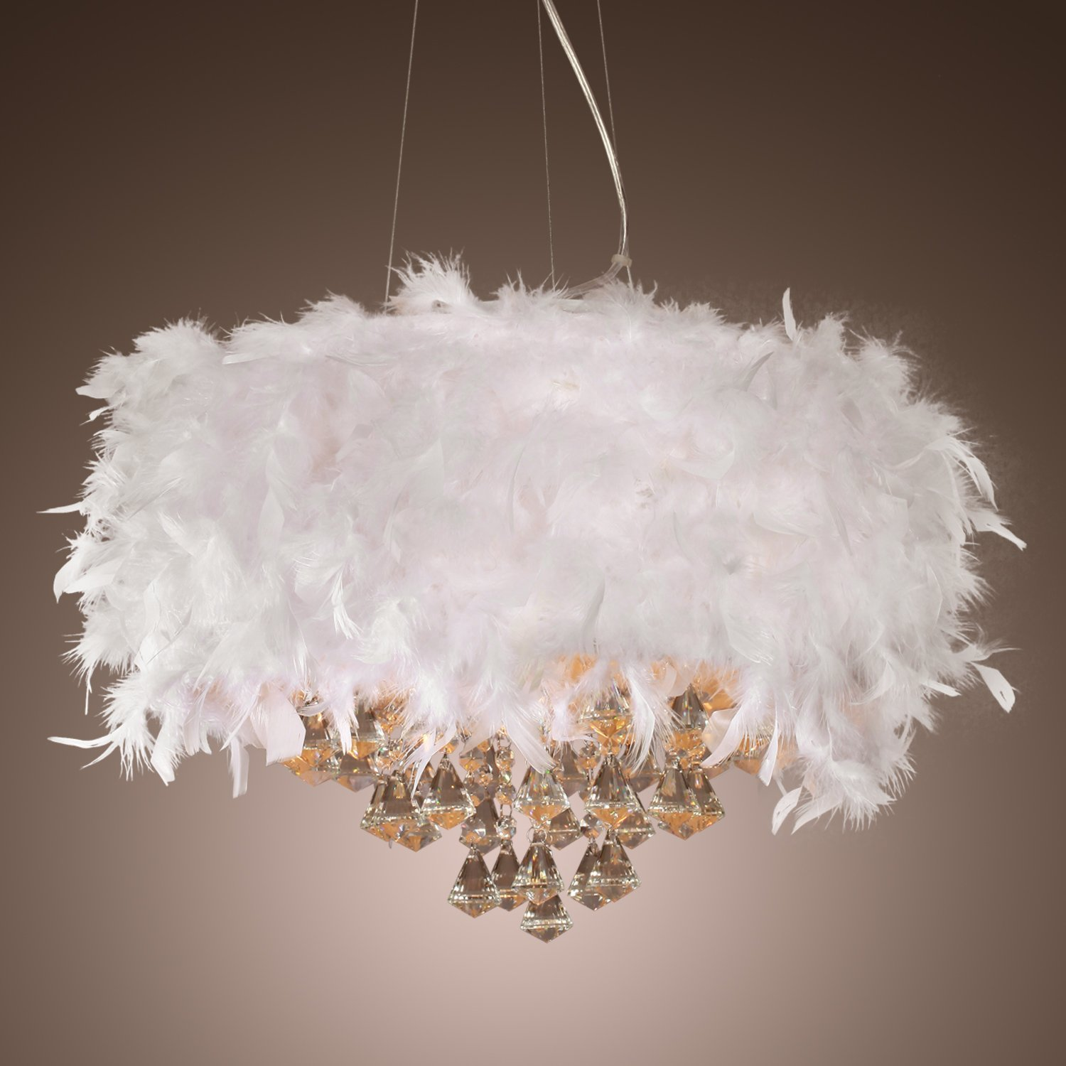 LightInTheBox Contemporary Luxuriant White Feather Chandelier with