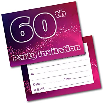 NEW Pack Of 20 60th Birthday Party Invitations Female Invites With Envelopes