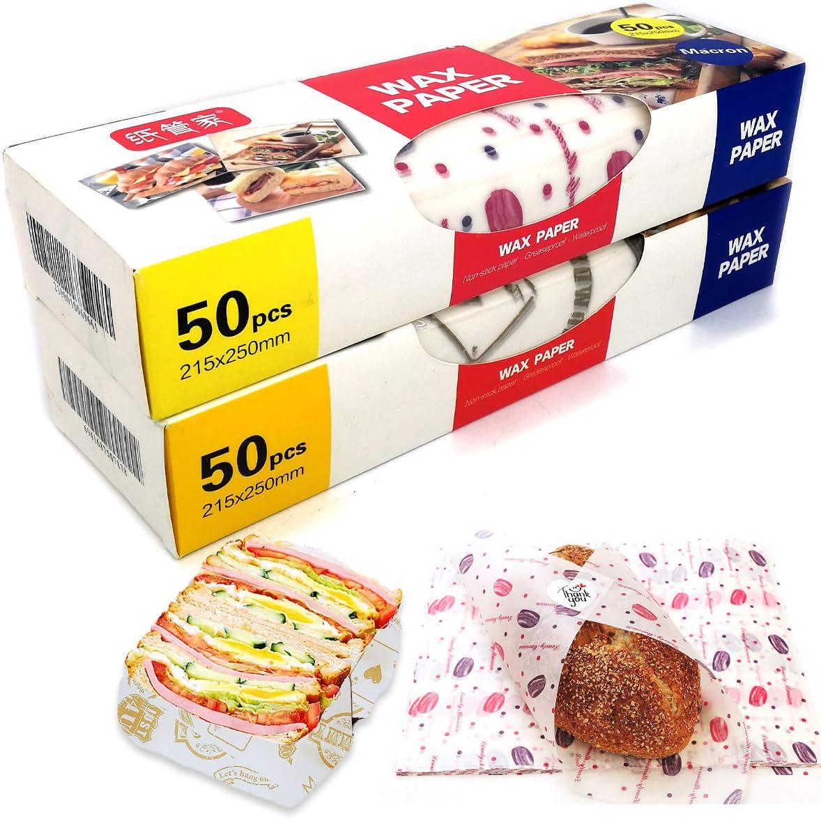 L/égume et Pain Papier pour Sandwiches Hamburgers pour Sandwich Papier Cir/é /étanche /à la Graisse Enveloppes Alimentaires en Cire dabeille 100 Feuilles Emballage de Cire dabeille Papier Fromage