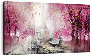 Eiffel Tower Decor Pink Paris Decor for Bedroom Framed Wall Art Canvas Art Wall Decor Romantic Paris Rainy Street View Pictures Large Wall Art Wall Decorations for Living Room Modern Decor 24x48 Size