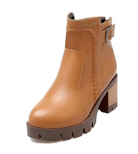 a20cd1caeddc0 AgeeMi Shoes Donna Scarpe a Chiusa Tacco a Blocco Zip Inverno Corti Stivali   Amazon.it  Scarpe e borse
