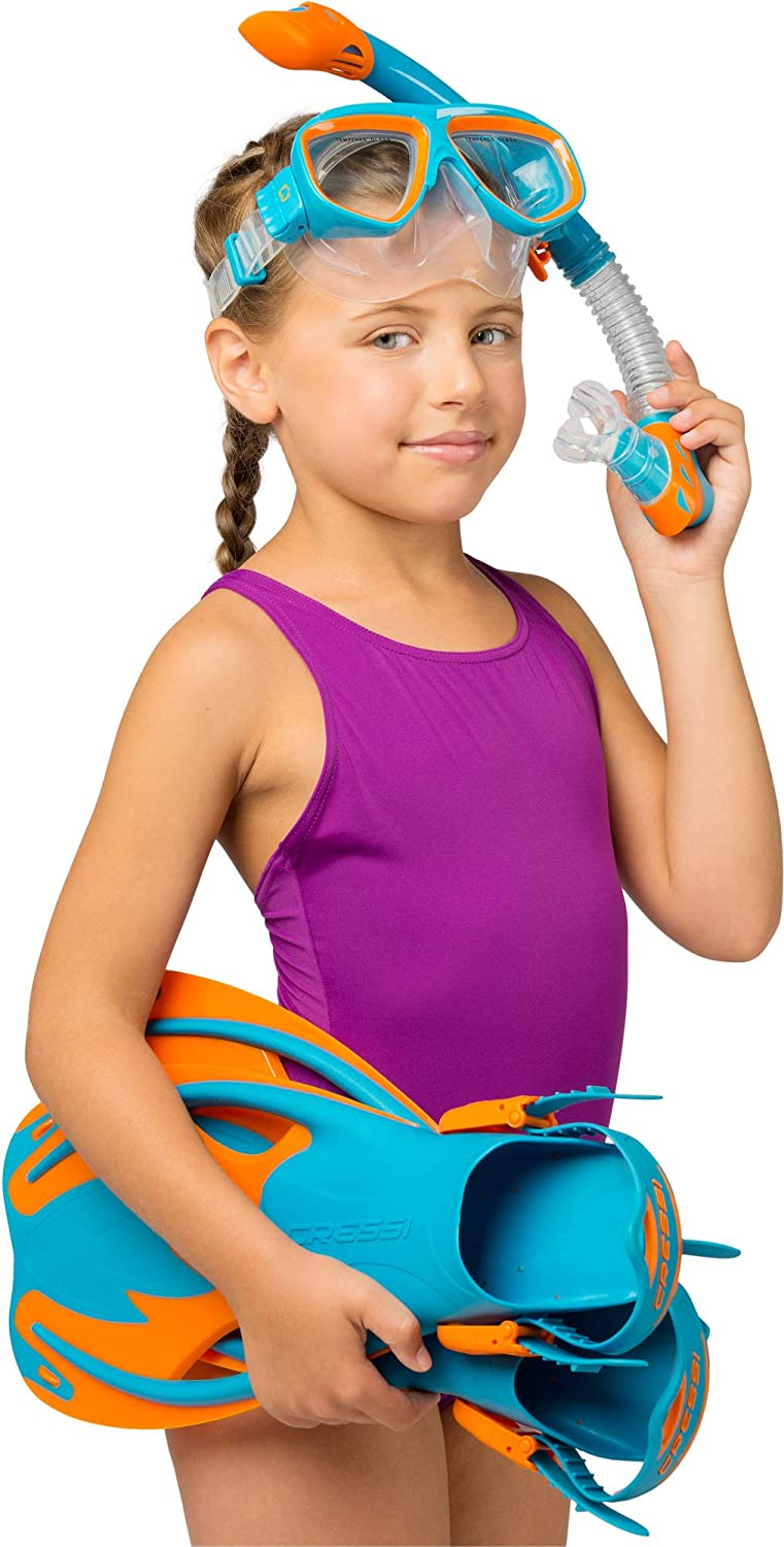 Snorkel for Children Aged from 4 to 12 Years Old Mask Rocks Equipment: Designed in Italy Cressi Kids Snorkeling Kit Short Open Fins