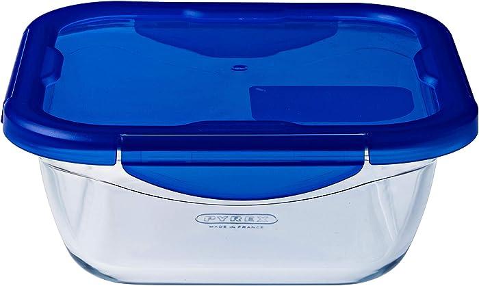 Pyrex Food Storage Container, Blue, 21 x 21 x 8 cm