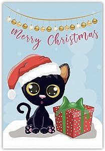 Meltelof Merry Christmas Garden Flag, Black Kitten with Gift Box Garden Flag, Cute Christmas Porch Décor, Winter Holiday Outdoor Home Decor -12x18 Inch Double Side