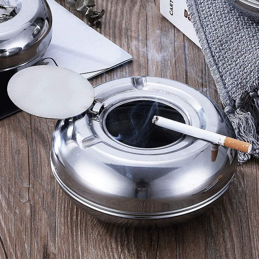 2 PCS Windproof Ashtray with Lid Newness Stainless Steel Modern Tabletop Ashtray for Outdoor or Indoor Use Desktop Smoking Ash Tray for Home Office Decoration