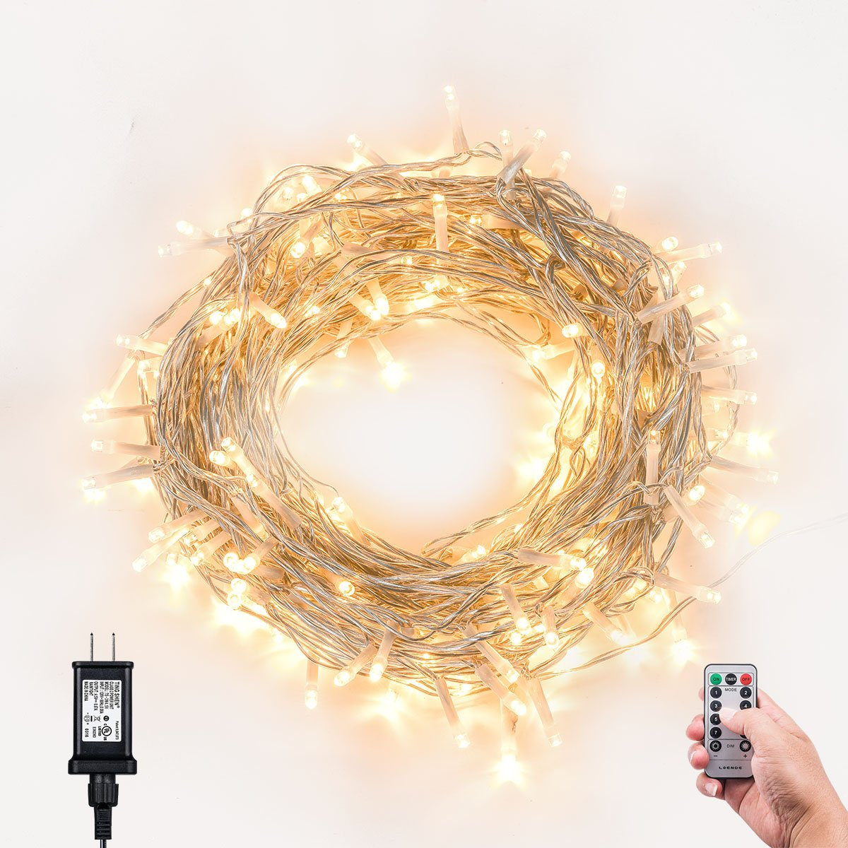 Loende 8Mode Plug-In Indoor Dimmable Fairy String Lights With Remote & Timer .. 10