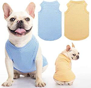 SCENEREAL Dog Shirt Dog Cooling Vest 2 Packs - Soft Breathable Instant Cooling T Shirt Hot Summer, Absorb Water and Evaporate Quickly for Dogs Cats Puppy