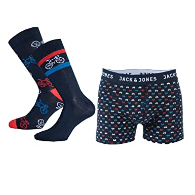 727dd971dadf22 Jack & Jones Mens Bike Gift Box Socks and Boxer Shorts in Navy- 1 ...