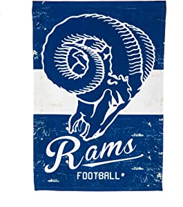 Team Sports America Vintage Linen Team Logo Flag for Rams Fans! Officially Licensed Los Angeles Rams Weather and Fade Resistant Outdoor Flag 18 x 12.5 Inches