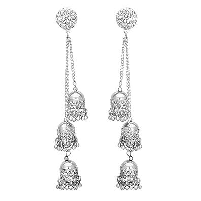 c92302a16 Shreyadzines Designer Afghani Kashmiri Tribal Oxidized Dangle Long Earrings  for Women and Girls (Silver)