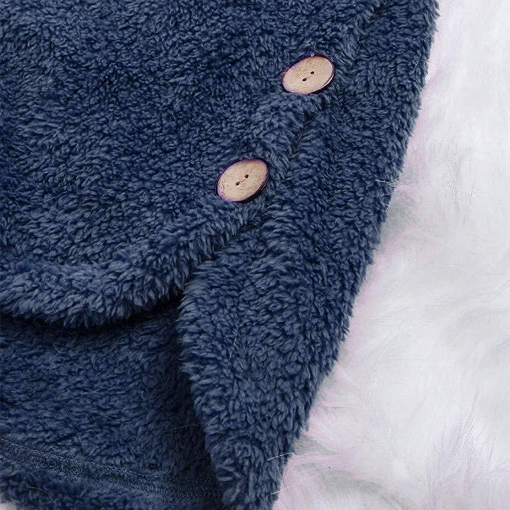 VANMO Manteau Femme,Manteau d'hiver à Capuche pour Femme Couleur Unie Cardigan à Poches Boutonnées Veste Polaire Femme Veste Daim Femme Manteau Long Camel Parka Hiver Femme A-marin