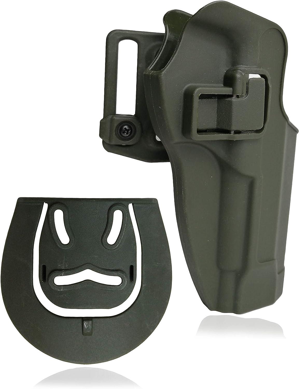 Totrait CQC Concealment Holster Tactical M9 Pistol Pistola Pistolera Funda de Mano Derecha Cinturón Militar Loop Paddle for Hunting Shooting Police CS Game Deportes al Aire Libre