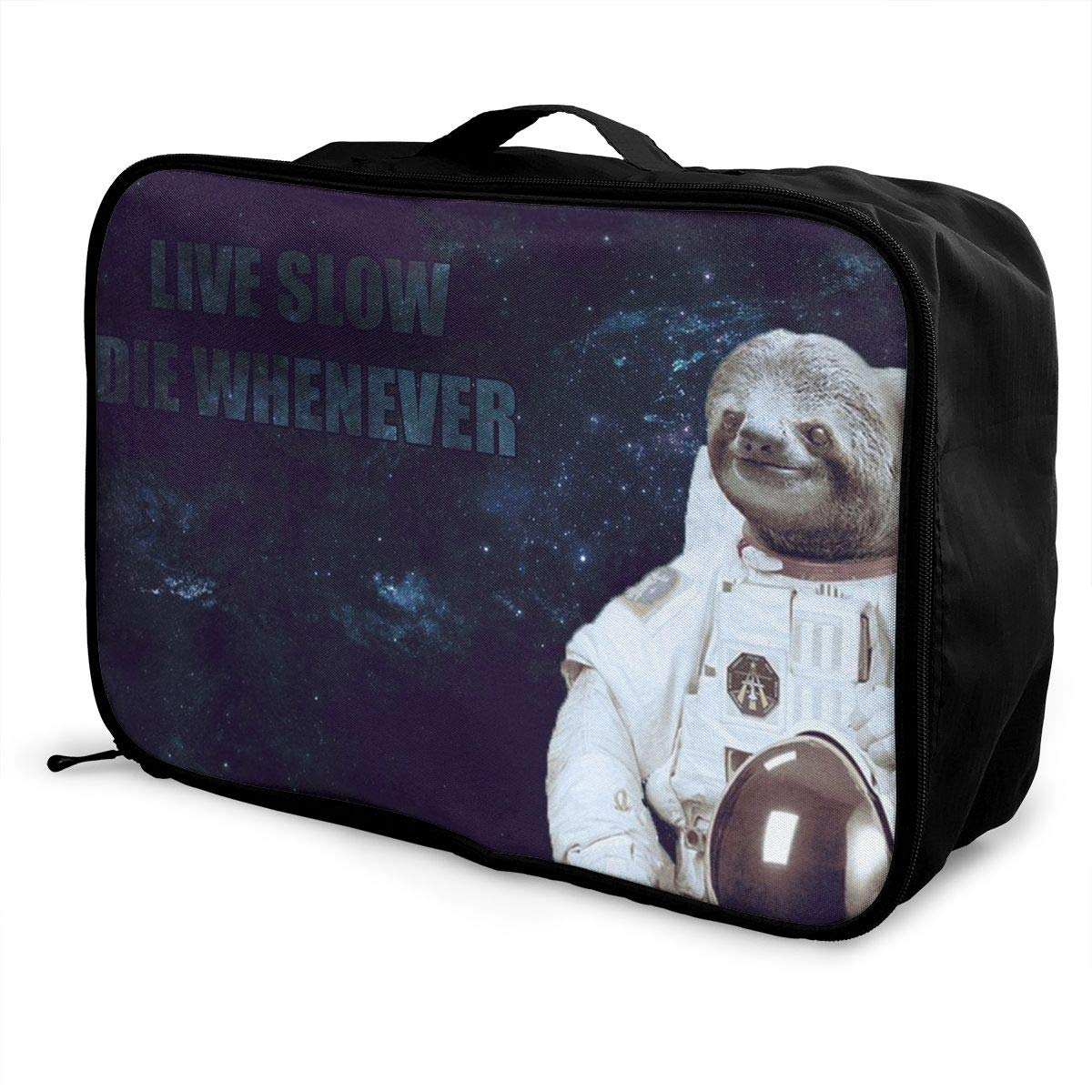 ADGAI Sloth Live Slow Die Whenever Canvas Travel Weekender Bag,Fashion Custom Lightweight Large Capacity Portable Luggage Bag,Suitcase Trolley Bag